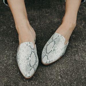 Shoes - SNAKESKIN FLAT MULES